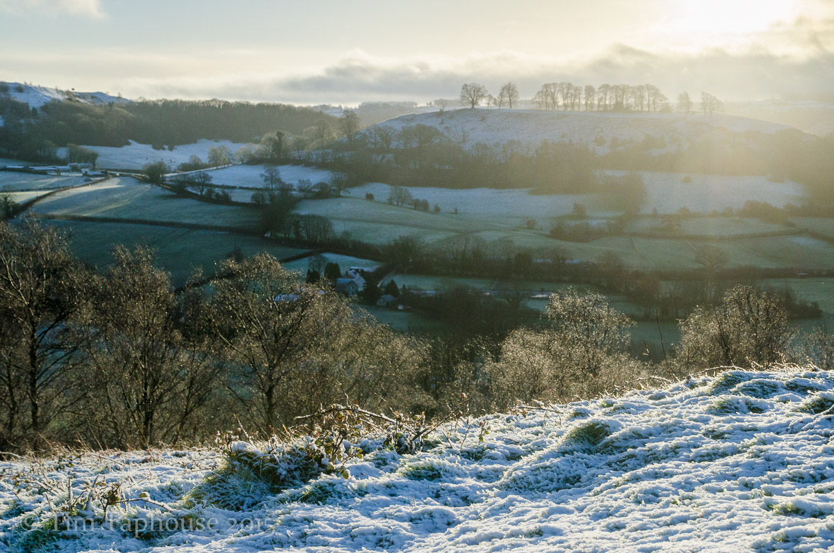 Downham Hill (or Smallpox hill) from Cam Peak, with a dusting of snow